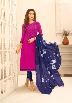 Raani Blue Lakda Jacquard with Embroidery Dress Material 50009