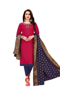Raani Blue South Cotton Slub With Embroidery Dress Materials 1008
