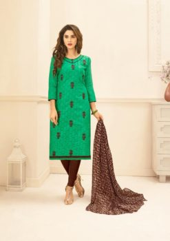 Rama Brown Lakda Jacquard with Embroidery Dress Material 50002