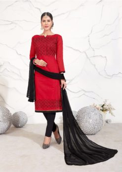 Red Black Chanderi with Embroidery Kurti 1004