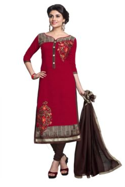 Red Brown Chanderi Cotton Dress Material 1114
