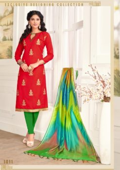 Red Green Pc Cotton Kurti 1011