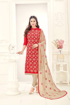 Red Khaki Chanderi With Embroidery Dress Material 1002