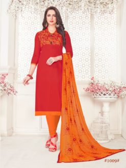 Red Orange Glace Cotton With Embroidery 1009