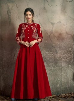 Red Soft Tapeta With Embroidery Work Gown 1406-C