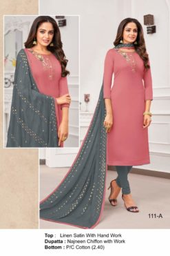 Roman Pink Color Linen Satin Dress Material Code 111-A
