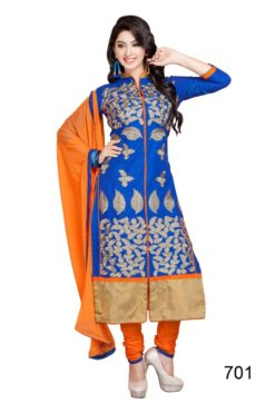 Royal Blue Orange Cambric Cotton Dress Material 701