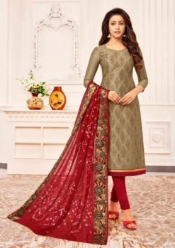 Sandal Color Chanderi Dress Material Code Bandhini