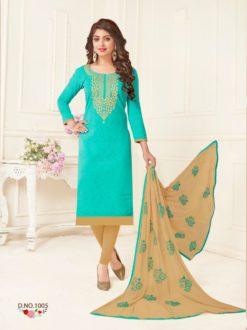Sky Blue Brown Bombay Jacquard With Work Dress Material 1005
