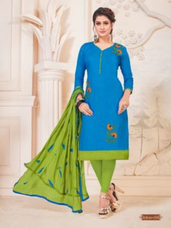 Sky Blue Green Glace Cotton With Embroidery Dress Material 1006