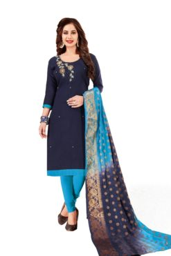 Blue South Cotton Slub With Embroidery Dress Materials 1001