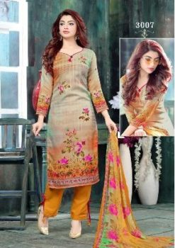 Steel Grey Color Pure Cotton Dress Material Code 3007