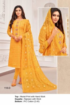 Sunshade Yellow Color Modal Dress Material Code 118-D