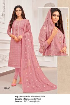 Sweet Pink Color Modal Dress Material Code 118-C