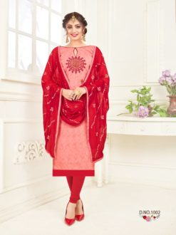 Sweet Pink Crimson Bombay Jacquard With Work Dress Material 1002