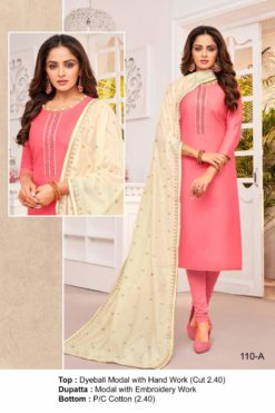 Tickle Me Pink Color Modal Dress Material Code 110-A