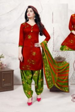 Tomato Red Color Cotton Dress Material Code 6005