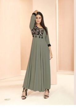 Grey Heavy Rayon Gowns Design No. - 6027
