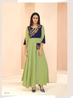 Green Heavy Rayon Gowns Design No. - 6024