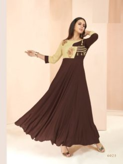 Brown Heavy Rayon Gowns Design No. - 6025