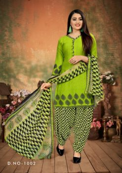 Green Patiala Dress Materials Design No. - 1002