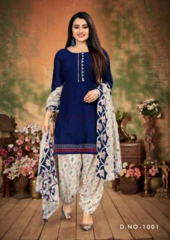 Navy Blue Patiala Dress Materials Design No. - 1001