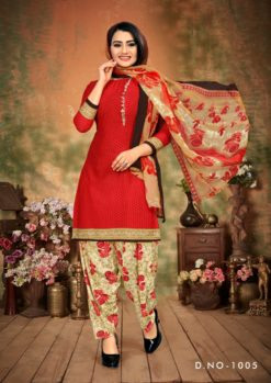 Red White Patiala Dress Materials Design No. - 1005