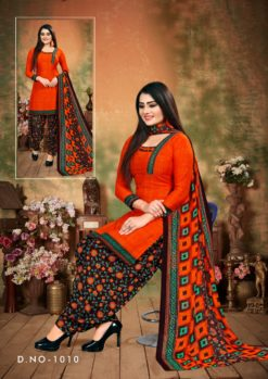 Vermilion Black Patiala Dress Materials Design No. - 1010
