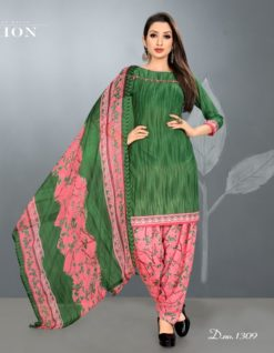 Mehendi Green Peach Leon Crepe Dress Material 1309