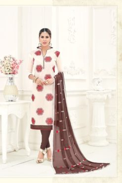 White Coffee Brown Chanderi With Embroidery Dress Material 1006