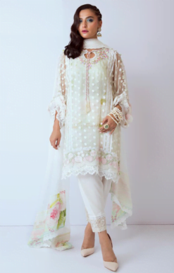 White Color Net Pakistani Dress Material 1201 C
