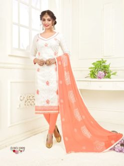 White Peach Bombay Jacquard With Work Dress Material 1009