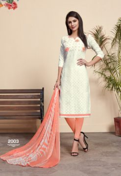 White Peach Lakda Jacquard Dress Material 2003