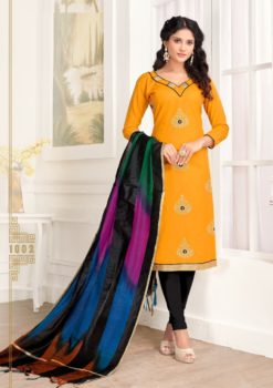 Yellow Black Pc Cotton Kurti 1002