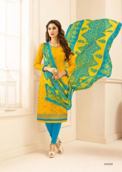 Yellow Blue Lakda Jacquard with Embroidery Dress Material 50008