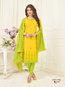 Yellow Bombay Jacquard With Work Dress Material 1006
