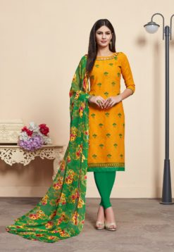 Yellow Green Lakda Jacquard Dress Material 2012
