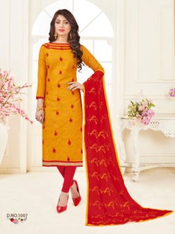 Yellow Red Bombay Jacquard With Work Dress Material 1007