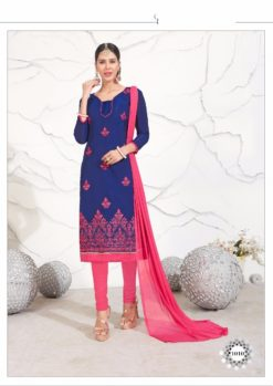 Navy Blue Pink Chanderi with Embroidery Kurti